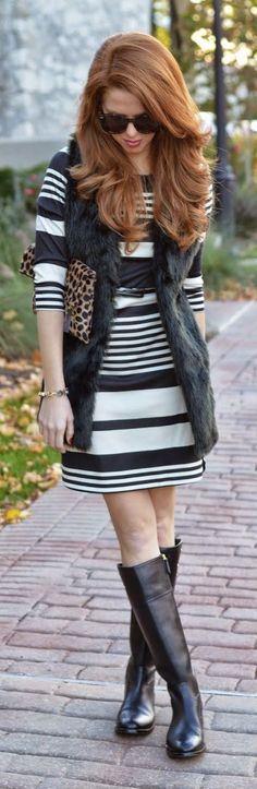 Daily New Fashion : Classic Stripes + Long Boots.