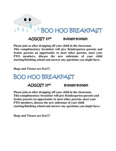 Boo hoo/Yahoo breakfast Pta School, 1st Day Of School, School Events, Beginning Of School, School Counseling, School Teacher, Parent Group, Finishing School, Fundraisers