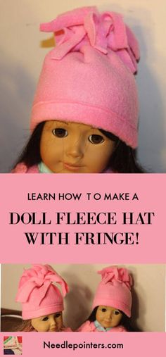 American Girl Doll Fleece Hat - Keep your doll warm this winter with a fleece hat. This is an easy sewing project! American Girl Doll Fleece Hat - Keep your doll warm this winter with a fleece hat. This is an easy sewing project! American Girl Crafts, American Doll Clothes, American Girls, Sewing Doll Clothes, Baby Doll Clothes, Diy Clothes, Doll Sewing Patterns, Doll Clothes Patterns, Ag Dolls