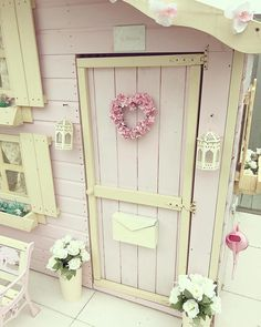 It's so lovely watching & listening to my little flowers & their friends playing in their playhouse (Ty bloday) Playhouse Decor, Playhouse Interior, Outside Playhouse, Girls Playhouse, Playhouse Kits, Backyard Playhouse, Build A Playhouse, Cubby Houses, Play Houses