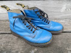 Vintage Bright Blue Leather Dr. Martens 8-Eye Boots by dinosaurdrygoods on Etsy