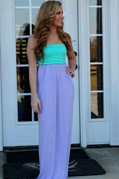 Mint & Lilac Colorblock Maxi Dress