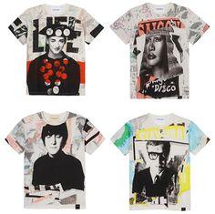 Quatro das camisetas criadas pelo fotógrafo David Bailey