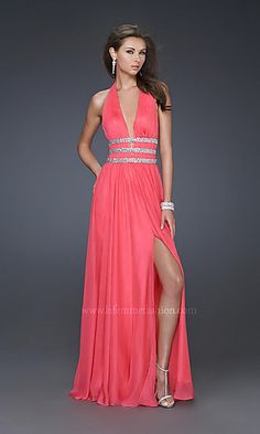 Sexy Low Cut Halter Gown by La Femme 16123 at SimplyDresses.com