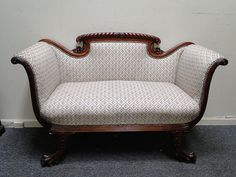 Antique Mahogany Claw Foot Rope Carved French Empire Loveseat Settee | eBay
