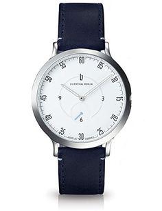 Lilienthal Berlin Uhr Made in Germany Design in Berlin. Modell L1Edelstahl Fall Weiß Zifferblatt