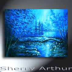 Blue Landscape Painting With Bridge and Water Original Artwork 18x24 Wild Blue Yonder by sherryarthur on Etsy
