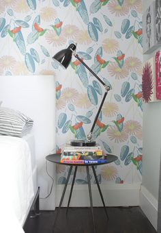 Simple Wallpapered Bedroom Vignette // Photographer Michael Graydon