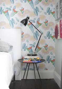 Simple Wallpapered Bedroom Vignette // Photographer Michael Graydon
