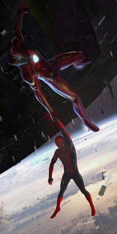 Iron Man Saving Spider Man - iPhone Wallpapers