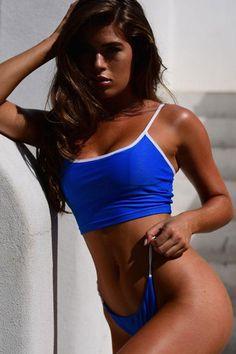 68f3d0ff8328e Solid String Thong Crop Cami Bikini Swimsuit - Two Piece Set