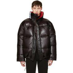 Vetements Reversible Black Canada Goose Edition Down Coat ($3,205) ❤ liked on Polyvore featuring men's fashion, men's clothing, men's outerwear, men's coats, reversible, mens quilted coat, mens hooded coats and mens fur collar coat
