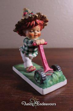 Goebel Charlot Byj Redhead Figurine Trim Lass Girl with Push Lawn Mower #Goebel