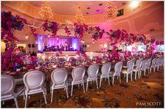 Hotel Del Coronado beach wedding, fuchsia orchid wedding, Grand Ballroom