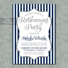 Retirement Invitations - Printable Silver & Navy Blue Retirement Party Invites - Elegant Navy Retirement Invitation by NiftyPrintables on Etsy https://www.etsy.com/listing/196707592/retirement-invitations-printable-silver
