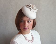 Off White Felt Fascinator Tail Hat Pillbox Winter Wedding
