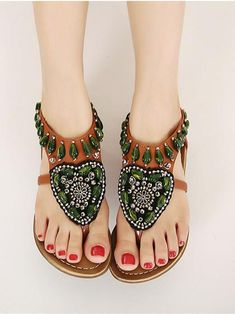 ef7f8209f37 Bohemia Beads Decorated Flat Sandals – bonboho Women Sandals