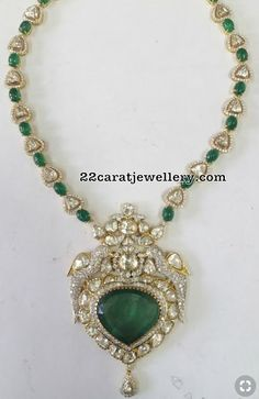 18 carat gold diamond emerald necklace with peacock pendant. Indian Wedding Jewelry, Bridal Jewelry, Gold Jewelry, Jewelery, Emerald Pendant, Emerald Diamond, Diamond Pendant, Diamond Mangalsutra, Emerald Bracelet