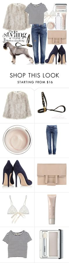 """fur coat"" by sophie-martina ❤ liked on Polyvore featuring Topshop, Dr. Sebagh, H&M, Gianvito Rossi, Maison Margiela, Hanky Panky, Laura Mercier, Enza Costa, Pure & Simple and Clinique"