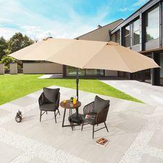 Patio Umbrella Stand, Market Umbrella, Patio Umbrellas, Solid Wood Dining Table, Patio Dining, Shade Canopy, Outdoor Spaces, Outdoor Decor, Bistro Set