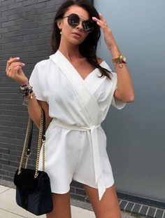 2018 New Summer Sexy V-neck Loose Jumpsuit Elegant Casual Beach Short Sleeved Party Playsuits Fashion Off Shoulder Rompers Rompers For Teens, Rompers Women, Jumpsuits For Women, Casual Playsuits, Summer Playsuits, Women Shorts, Jumpsuit Casual, Outfit, Fashion Clothes