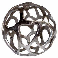 Alluring Caged Aluminum Sphere, Silver