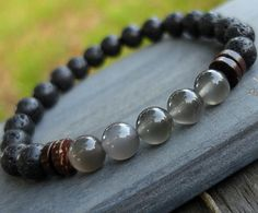 Mens Gray Moonstone bracelet Lava Men's by LifeForceEnergyShop