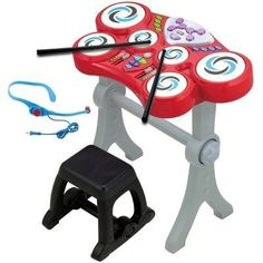 Rock N Beats Drum Set by Winfun. $30.44. 2067-NL Features: -Rock n beats drum set.-Six soft drum pads and flashing lights.-Record and playback feature.-Your little drummer will enjoy sitting at the drum set making and recording music.-Two activity modes: learning and normal play.-Enjoy the 8 rhythm selections, echo function and tempo control.-Even a headset microphone for sing along.-For ages three years and up.-Requires four AA batteries, not included. Includes: -Drumsticks, ...