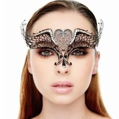Luxurious Laser Cut Black Tiara Masquerade Mask Our selective filigree eye masks are constructed with pure metal smoothed to be gentle to skin tolerant, feather lightweight and pliable material, so it can be donned with eased, Airy, and comfortably while attending/hosting a fancy masquerade ball party.    Handcrafted with laser cut metal lace designs complemented with swarovski rhinestones embellishments, it would definitely perform an stunning limelight appearance @ any Event and creating…