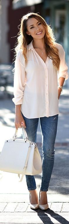 #street #style #womens #fashion #spring #outfitideas   White and Blue basics   Hapa Time                                                                             Source