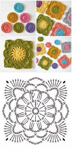 Crochet everything. Crochet Motifs, Granny Square Crochet Pattern, Crochet Blocks, Crochet Mandala, Crochet Diagram, Freeform Crochet, Crochet Chart, Crochet Squares, Crochet Granny