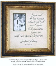 Wedding Frame Sign with You Raised With Love This Man quote , Wedding Gifts For Parents, Mother of The Groom, Reception, Shower, 16 X 16