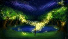 art night tree man lights sparks fireflies lake grass