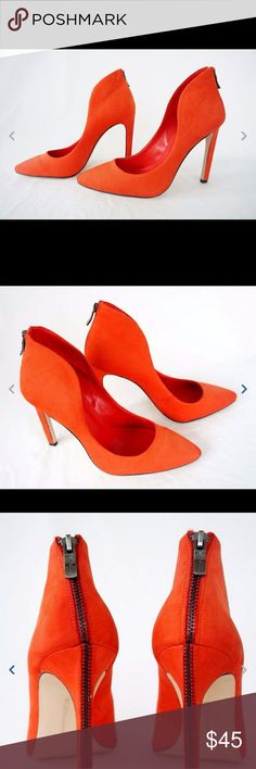 BCBG BCBGeneration Concord High Heels Women Shoes BCBG BCBGeneration Concord High Heels Women Shoes Footwear Orange Leather 8.5 M 38.5  Beautiful orange women pumps with decorative back zipper, very stylish.  These have been worn twice, very secure on your ankle, very versatile.  Really great shape, just like new  Orange Color  Nice Smooth Leather Texture  Heel Height Approximately4 1/2 in.  All Man Made  Upper Leather  Fast Handling and FREE Shipping  Discount Shoes, MSRP $110…
