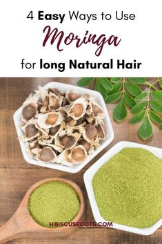 Read this article for everything you need to know about how to use moringa for natural hair growth, and to stop excess hair shedding. It explains the benefits of moringa for hair and how this powerful super ingredient can be used as a hair oil, hair mask, tea rinse, or spritz for natural hair! As a bonus, you can get a simple DIY Hair Mask Recipe for Moringa! #moringa #moringaforhair