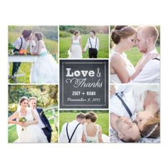 Shop Chalked Collage Wedding Thank You Card created by berryberrysweet. Personalize it with photos & text or purchase as is! Wedding Thank You Postcards, Wedding Postcard, Save The Date Postcards, Save The Date Cards, Wedding Cards, Wedding Speeches, Wedding Venues, Wedding Rsvp, Photo Postcards