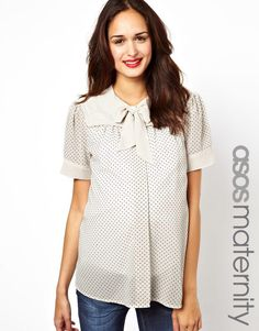 ASOS Maternity | ASOS Maternity Blouse In Dobby Spot With Pussybow at ASOS