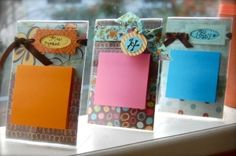 Post-It Present ~ What you need: clear frames (Dollar Tree for...$1.00); post-it's (generic pack at Wal-Mart for $1.74) scrapbook paper/embellishments ~ Cut scrapbook paper to fit frame, stick post-its on the front, and attach ribbon or embellishment. Done. :) by cheryl
