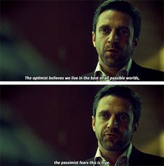 "(gif set) ""The optimist believes we live in the best of all possible worlds. The pessimist fears this is true."" 