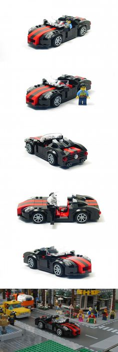 Black Sports Car with Red Stripes by danthaman 11 Awesome Lego, Cool Lego, Legos, Lego Sports, Lego Wheels, Lego Car, Amazing Lego Creations, Lego Boards, Lego Vehicles