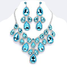 Aqua Blue Crystal Rhinestone Formal Wedding Bridal Prom Party Pageant Bridesmaid Evening Teardrop Cluster Necklace Earrings Set Elegant Costume Jewelry