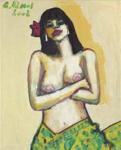 Artwork by Gernot Kissel, Laetitia with closed arms and floral cloth, Made of oil on canvas
