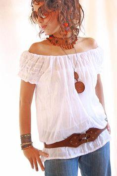 Amelia Mexican white cotton mini dress blouse by AidaCoronado, $58.00
