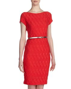 Braided-Knit+Belted+Dress%2C+Poppy+by+Sharagano+at+Last+Call+by+Neiman+Marcus.