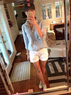 Top- J.Crew, Shorts- Old Navy, Shoes- Converse, Hat- J.Crew for similar, Watch- Michael Kors