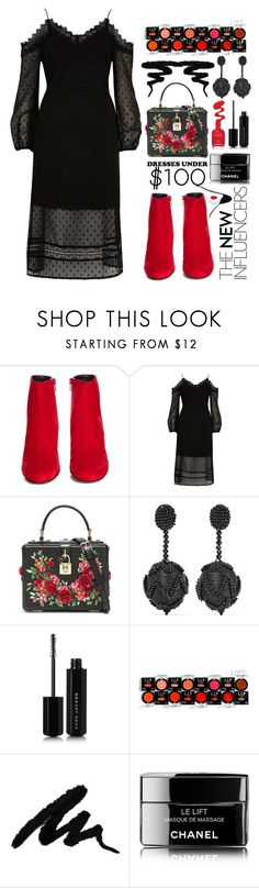 """""""Dresses under 100"""" by todosobrefashion ❤ liked on Polyvore featuring Yves Saint Laurent, River Island, Dolce&Gabbana, Oscar de la Renta, Marc Jacobs, Mehron and Chanel"""