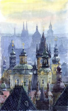 """Saatchi Online Artist: Yuriy Shevchuk; Watercolor, 2009, Painting """"Prague Towers""""  Love the dimensional effect and colors. Sedate but pretty."""