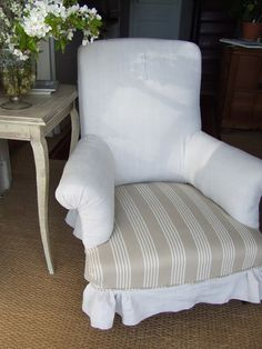 authentic french country style inside the home - Sharon Santoni  (Use this white linen for the french chairs)