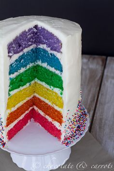 recipe for easy rainbow layer cakes. - not bad.  a very dense cake, and slightly low on flavor.  The icing tastes ok, but there's no way to get it as smooth as it looks in the pictures as it is *very* sticky and has the consistency of marshmallow fluff.
