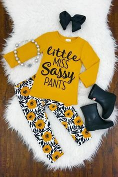 "Mustard ""Little Miss Sassy Pants"" Boutique Set #babygirloutfits"